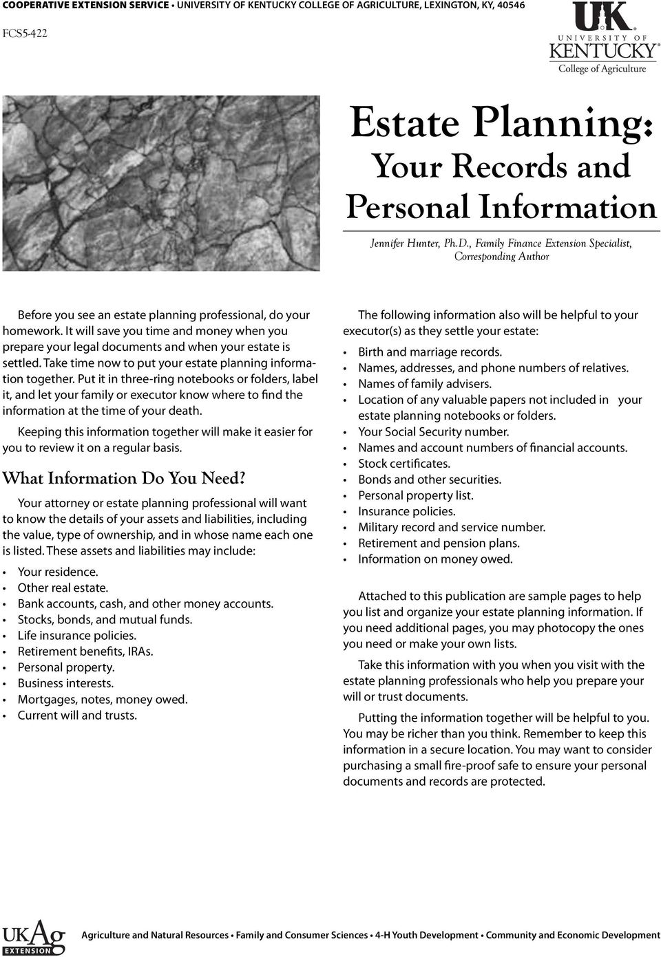 Estate Planning: Your Records and Personal Information  What