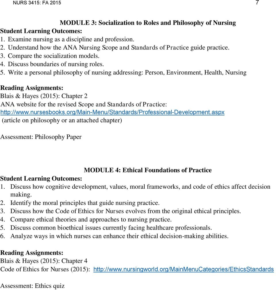 Write a personal philosophy of nursing addressing: Person, Environment, Health, Nursing Blais & Hayes (2015): Chapter 2 ANA website for the revised Scope and Standards of Practice: http://www.