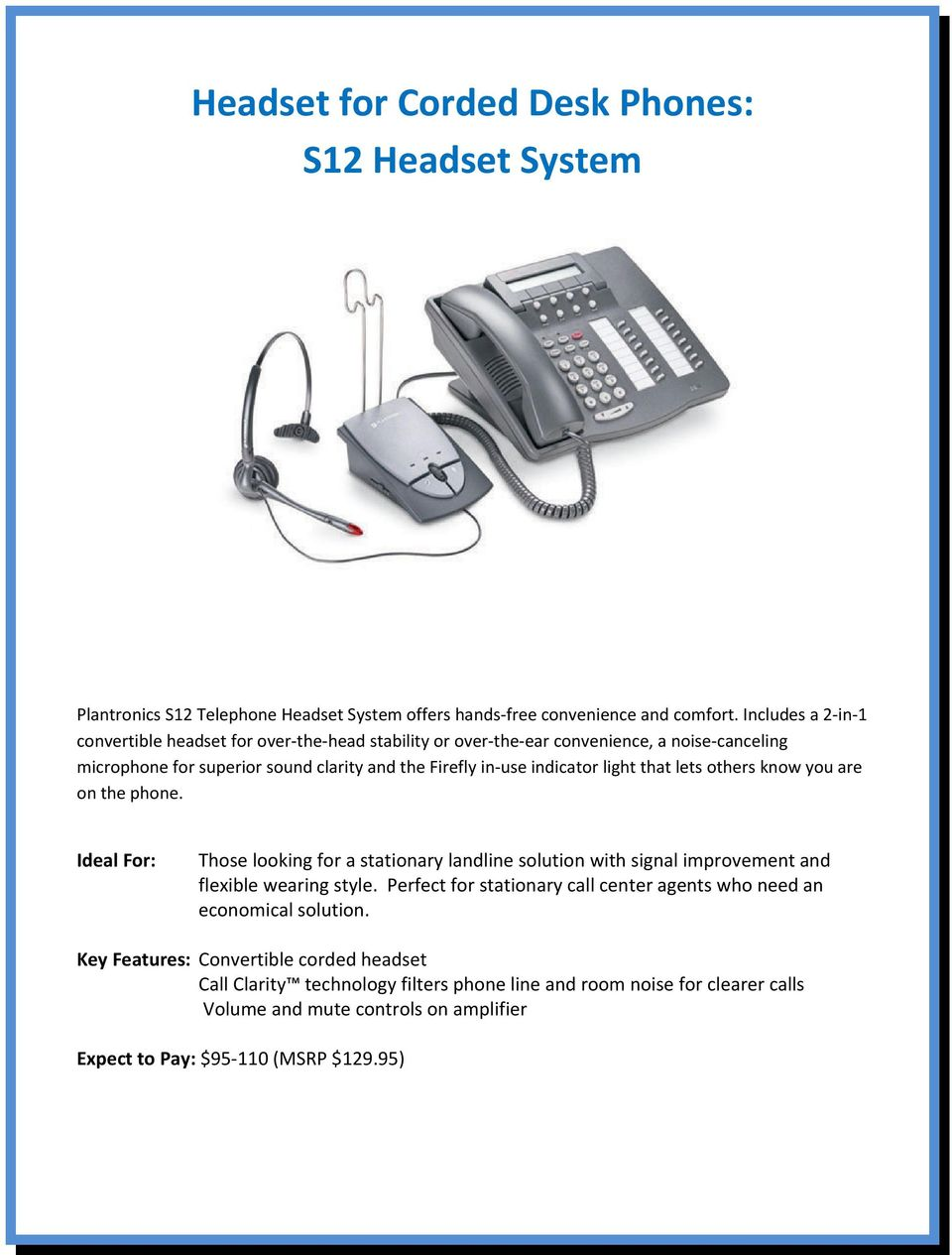 2009 Headset Guide for the Small Office / Home Office / Call