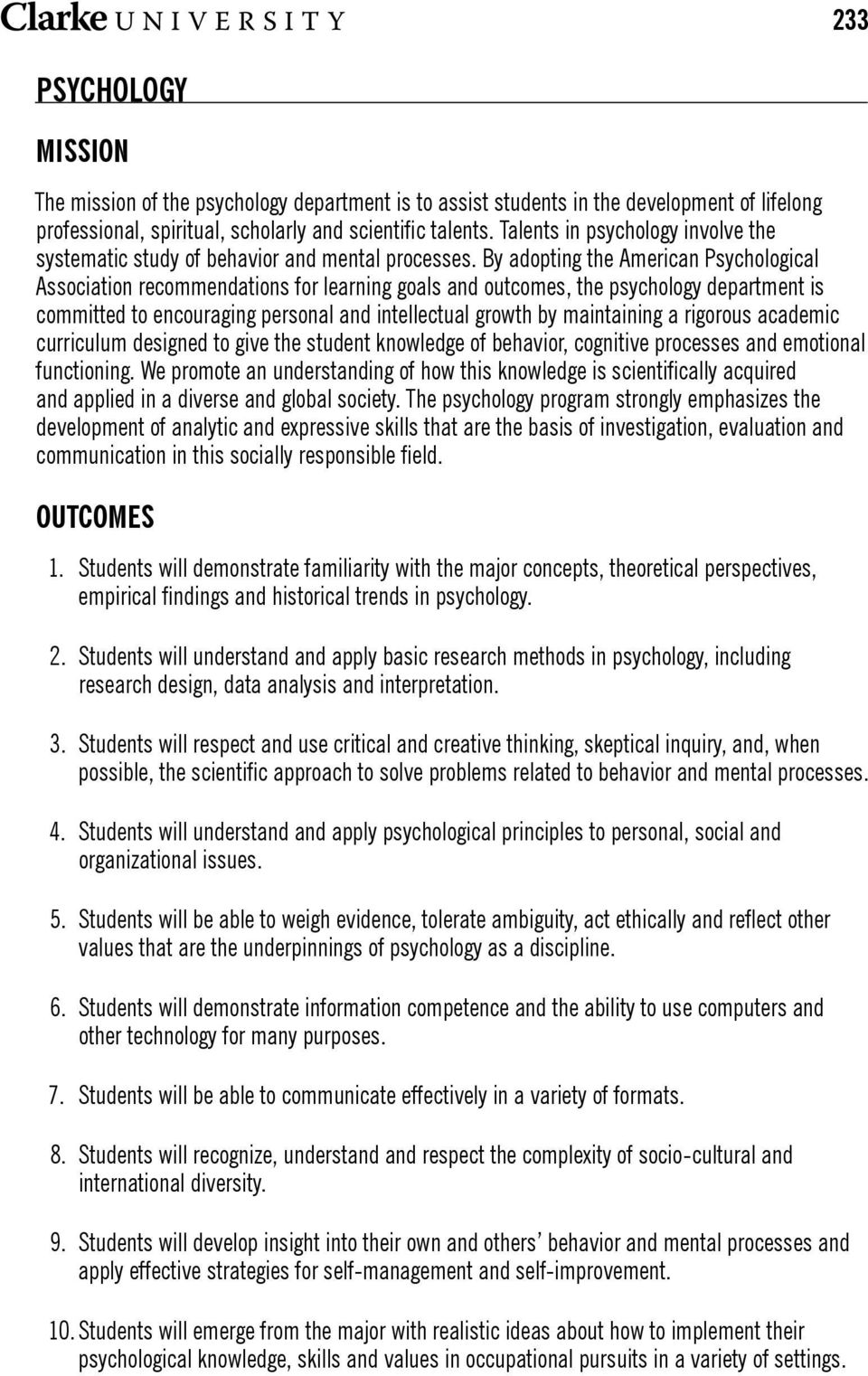 Psychology mission outcomes pdf by adopting the american psychological association recommendations for learning goals and outcomes the psychology department altavistaventures Gallery