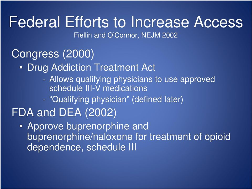 III-V medications Qualifying physician (defined later) FDA and DEA (2002) Approve