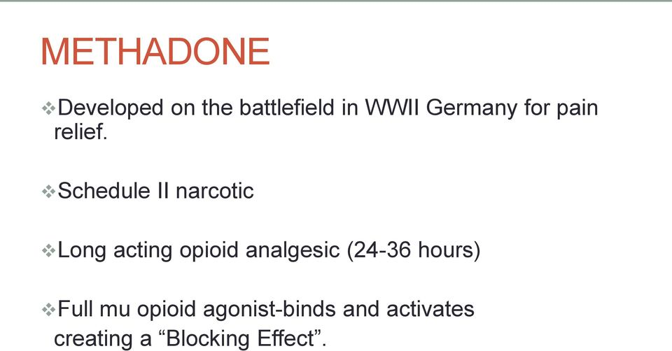 Schedule II narcotic Long acting opioid analgesic