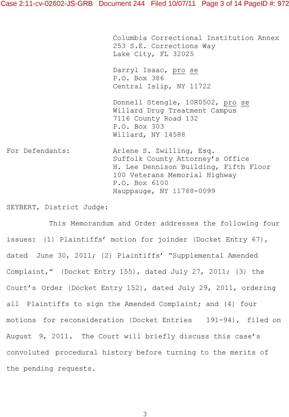 Case 2:11-cv JS-GRB Document 244 Filed 10/07/11 Page 1 of 14 PageID