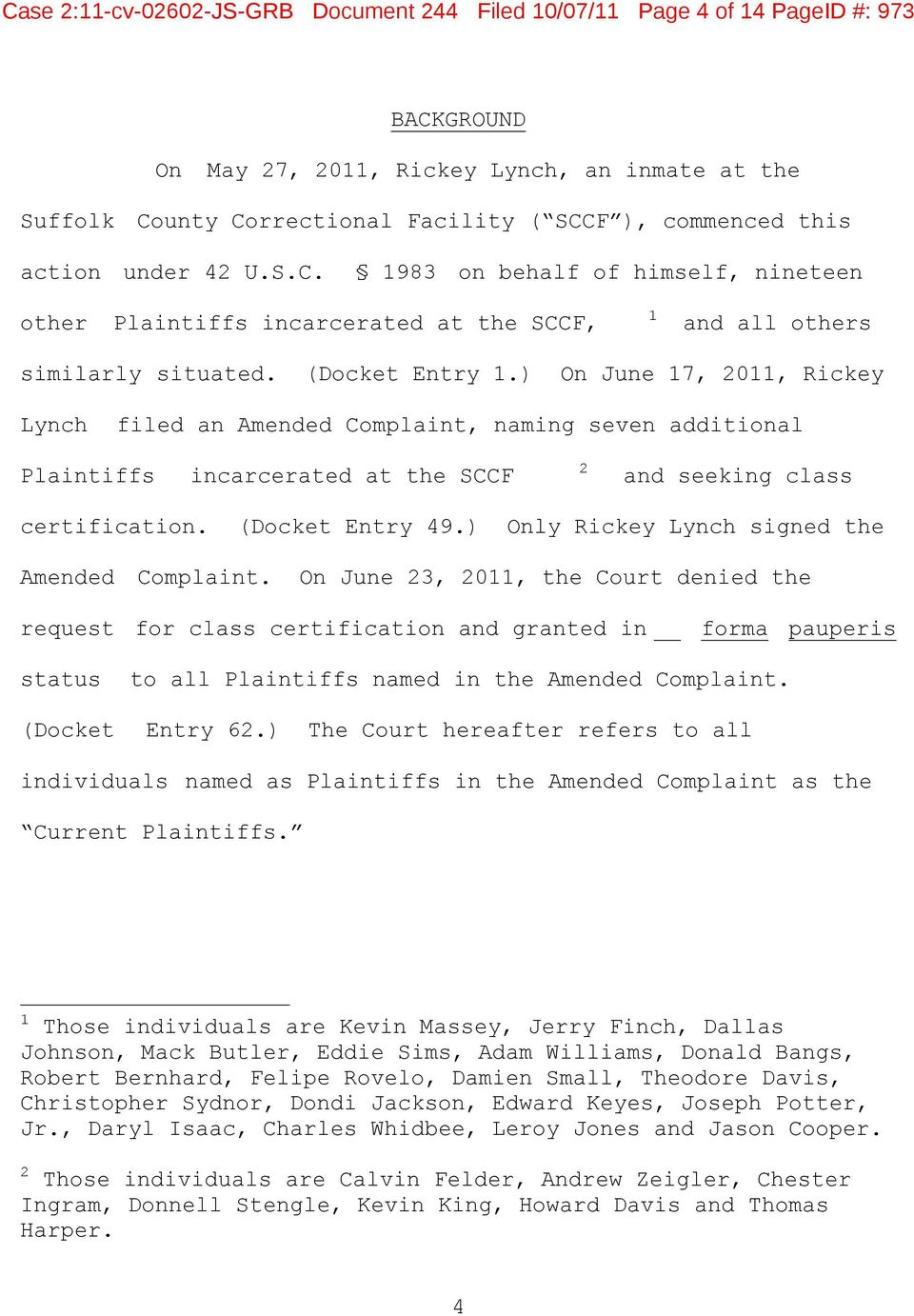 Case 2:11-cv JS-GRB Document 244 Filed 10/07/11 Page 1 of 14