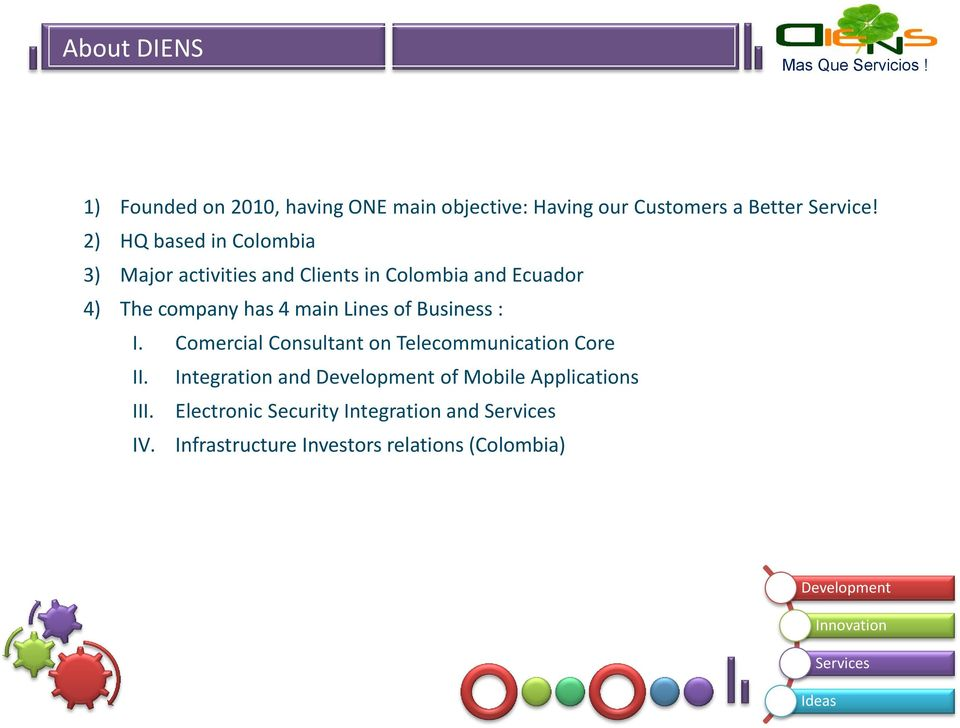 main Lines of Business : I. Comercial Consultant on Telecommunication Core II.
