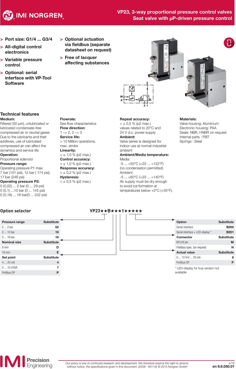 serial interface with VP-Tool Software P = W X µp Technical features Medium: Filtered (5 μm), unlubricated or lubricated condensate-free compressed air or neutral gases Due to the lubricants and