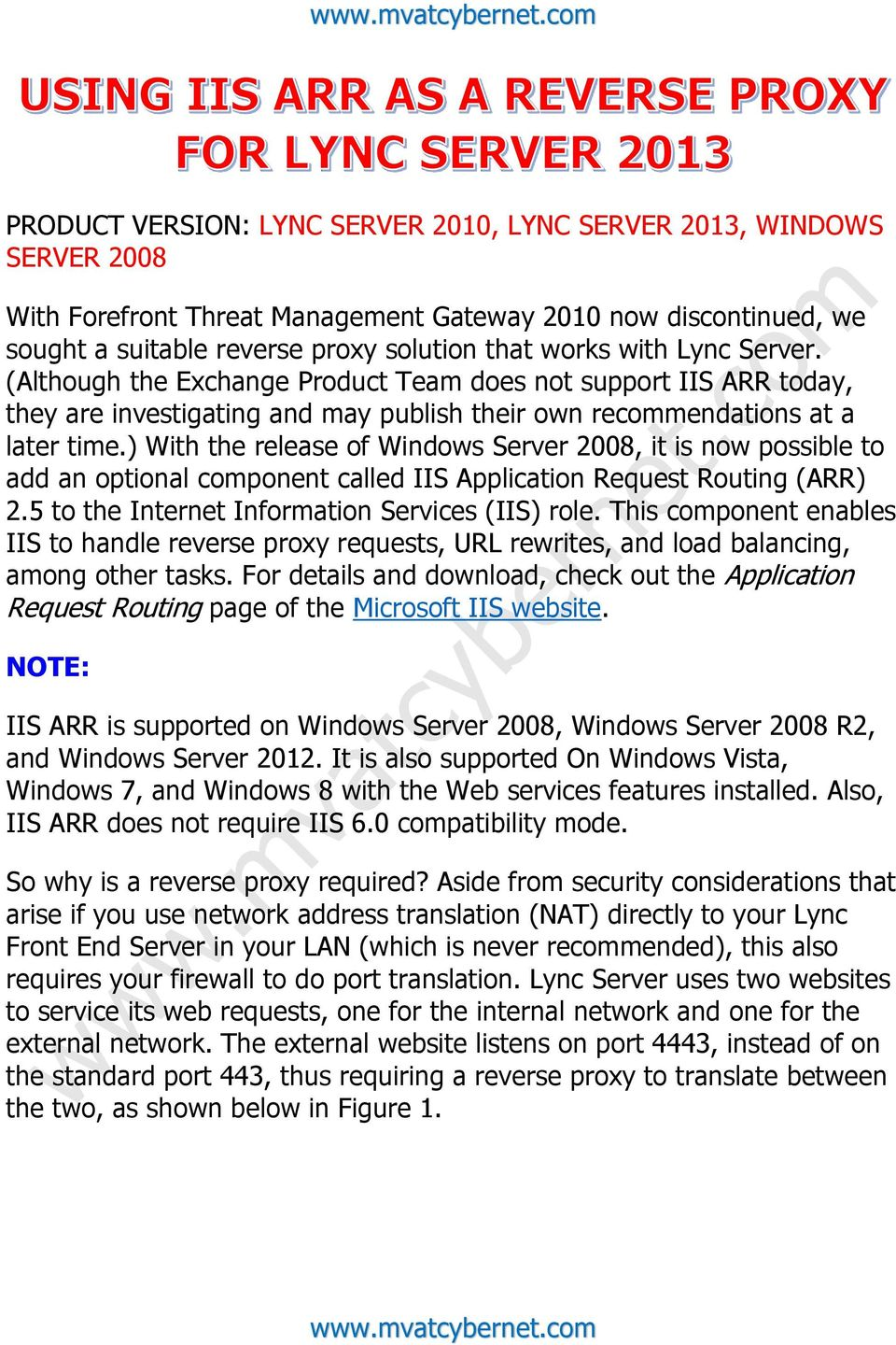 PRODUCT VERSION: LYNC SERVER 2010, LYNC SERVER 2013, WINDOWS