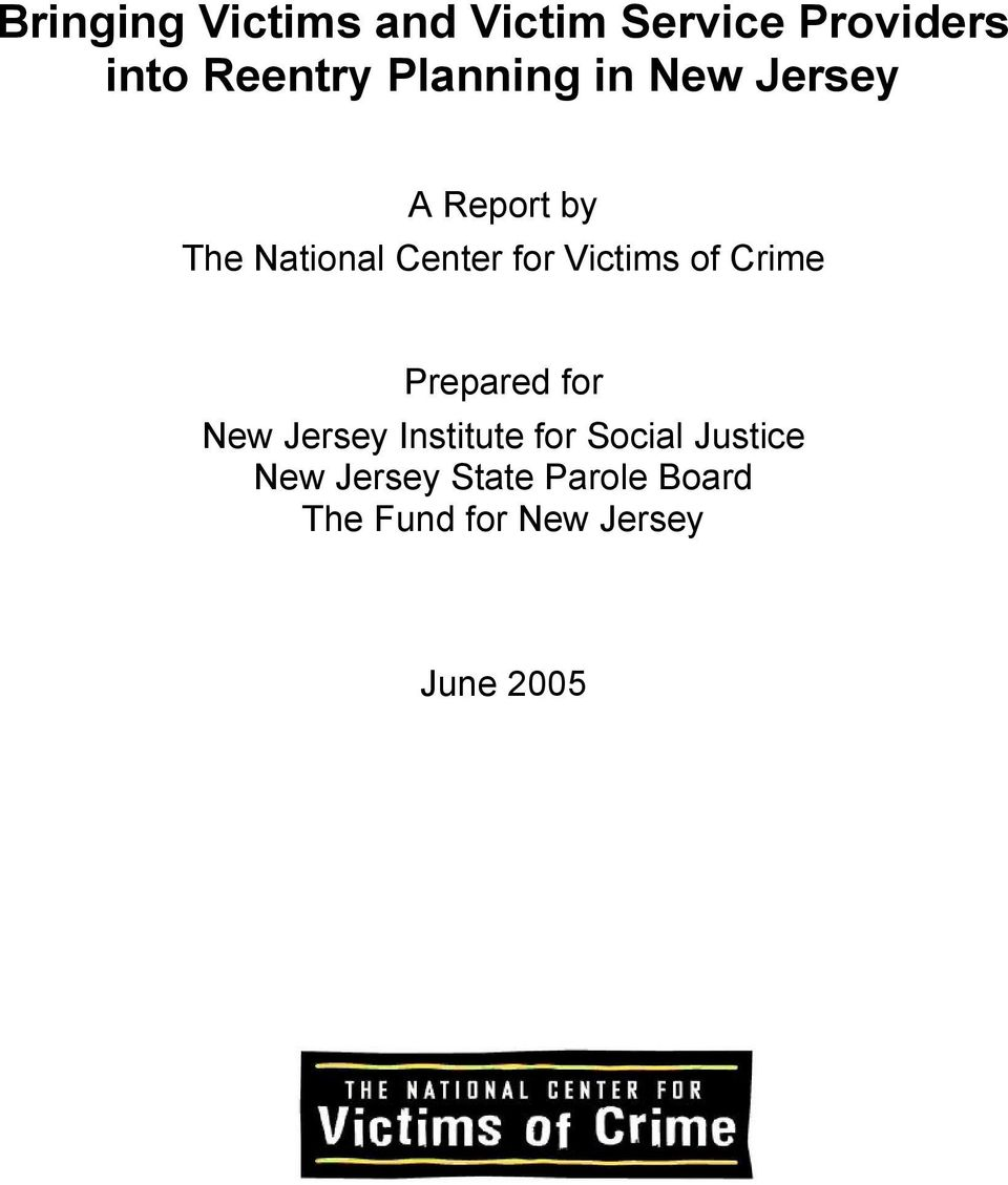 Victims of Crime Prepared for New Jersey Institute for Social