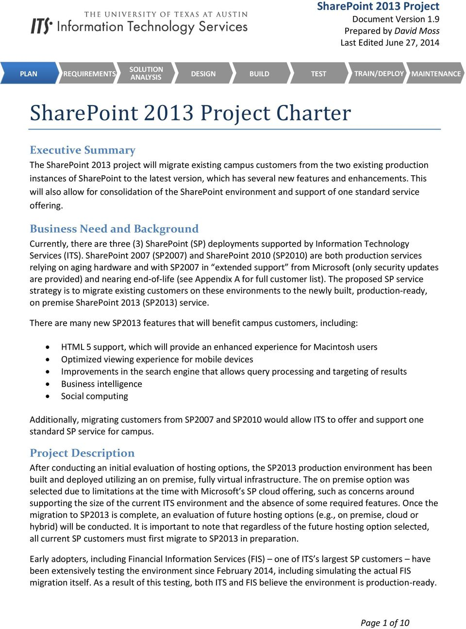 SharePoint 2013 Project Charter - PDF