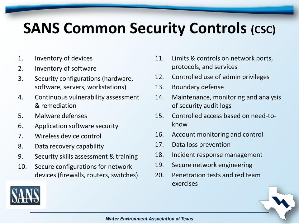 Security skills assessment & training 10. Secure configurations for network devices (firewalls, routers, switches) 11. Limits & controls on network ports, protocols, and services 12.