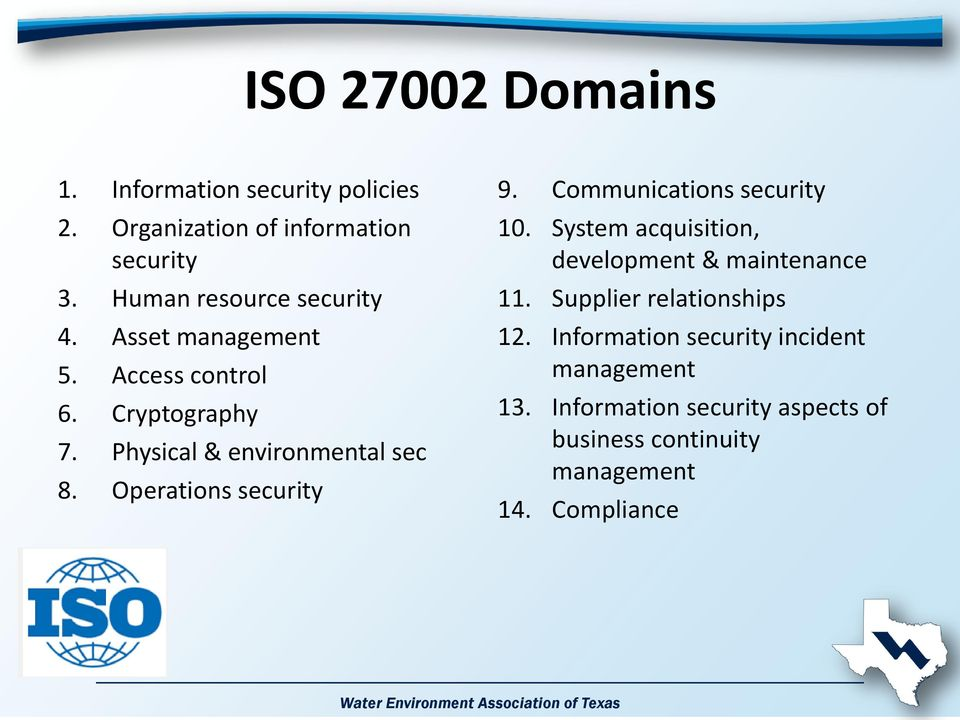 Operations security 9. Communications security 10. System acquisition, development & maintenance 11.
