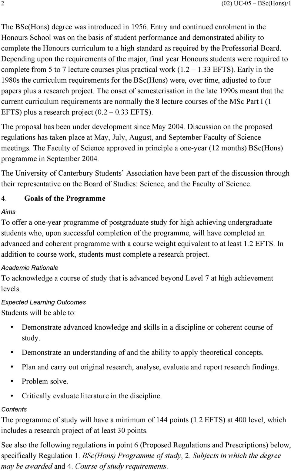 UNIVERSITY OF CANTERBURY Bachelor of Science with Honours - PDF