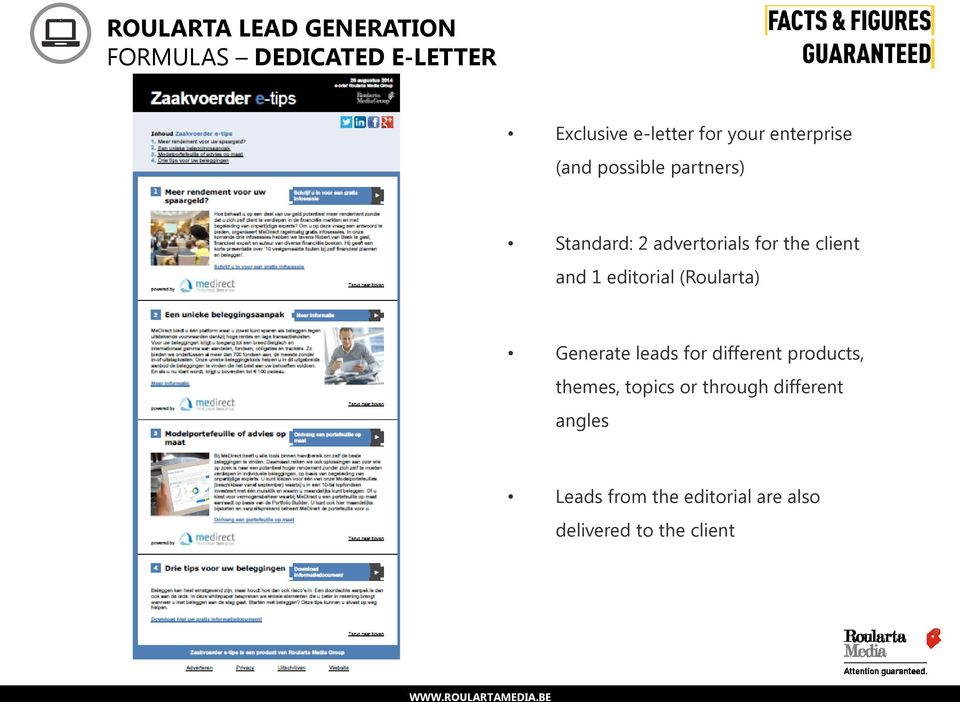 (Roularta) Generate leads for different products, themes, topics or