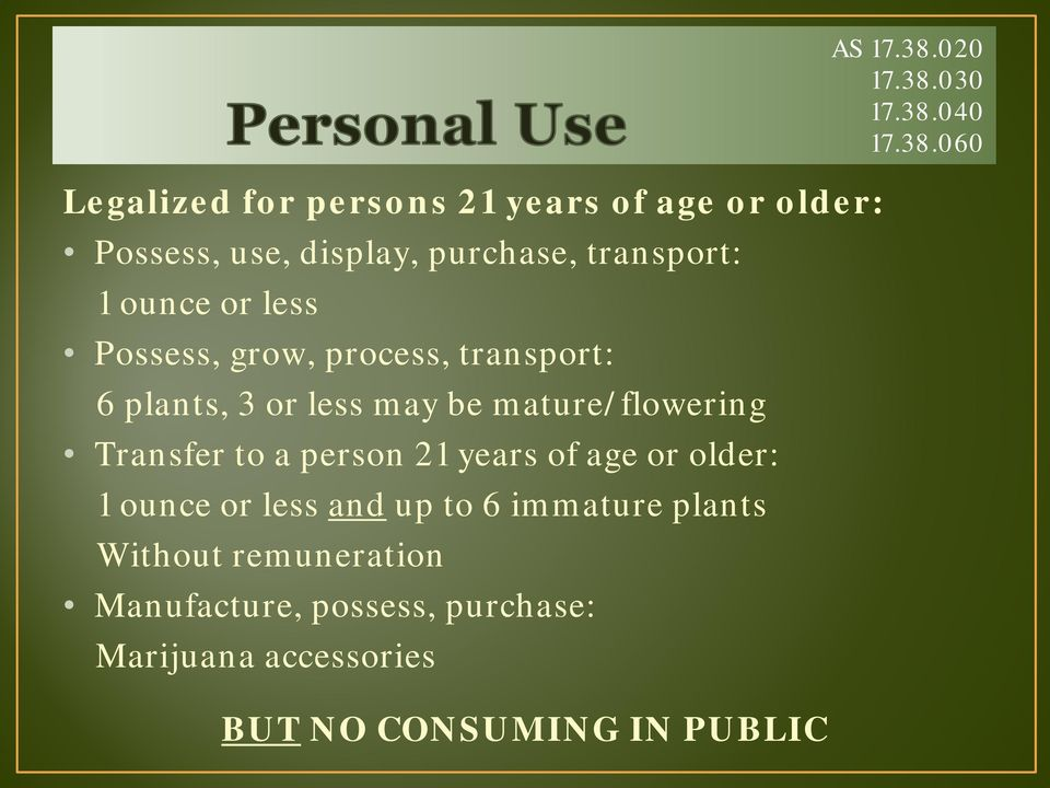 21 years of age or older: 1 ounce or less and up to 6 immature plants Without remuneration Manufacture,