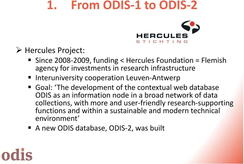 contextual web database ODIS as an information node in a broad network of data collections, with more and user