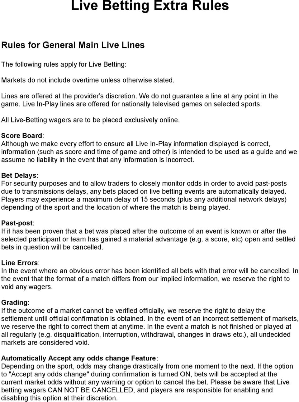 Live Betting Extra Rules - PDF