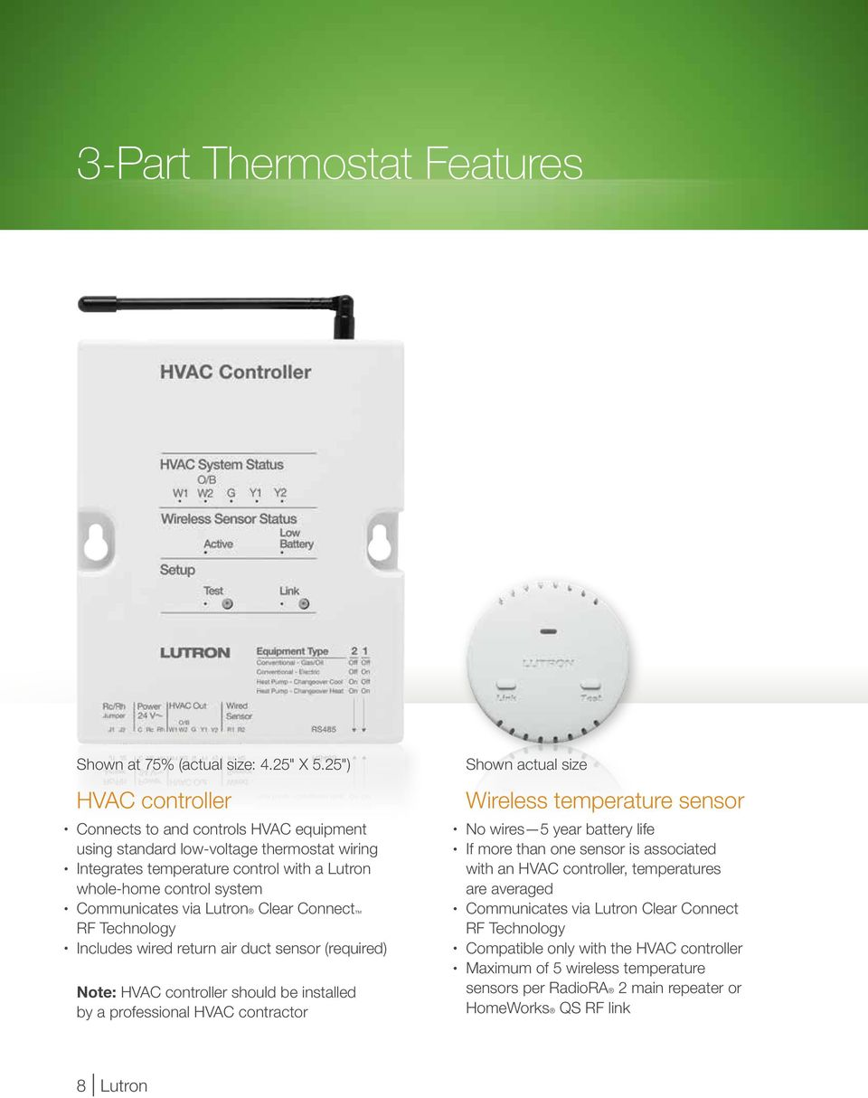 Temperature Control From Lutron Pdf Hvac Sensor Wiring Clear Connect Rf Technology Includes Wired Return Air Duct Required Note