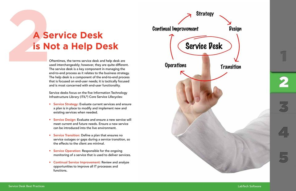 The help desk is a component of the end-to-end process that is focused on end-user needs; it is tactically focused and is most concerned with end-user functionality.