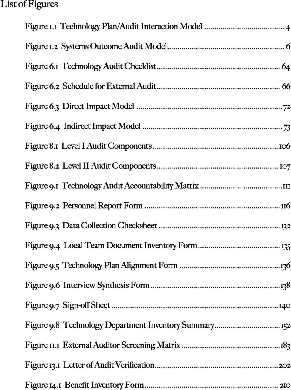 1 Technology Audit Accountability Matrix...111 Figure 9.2 Personnel Report Form...116 Figure 9.3 Data Collection Checksheet...132 Figure 9.4 Local Team Document Inventory Form... 135 Figure 9.