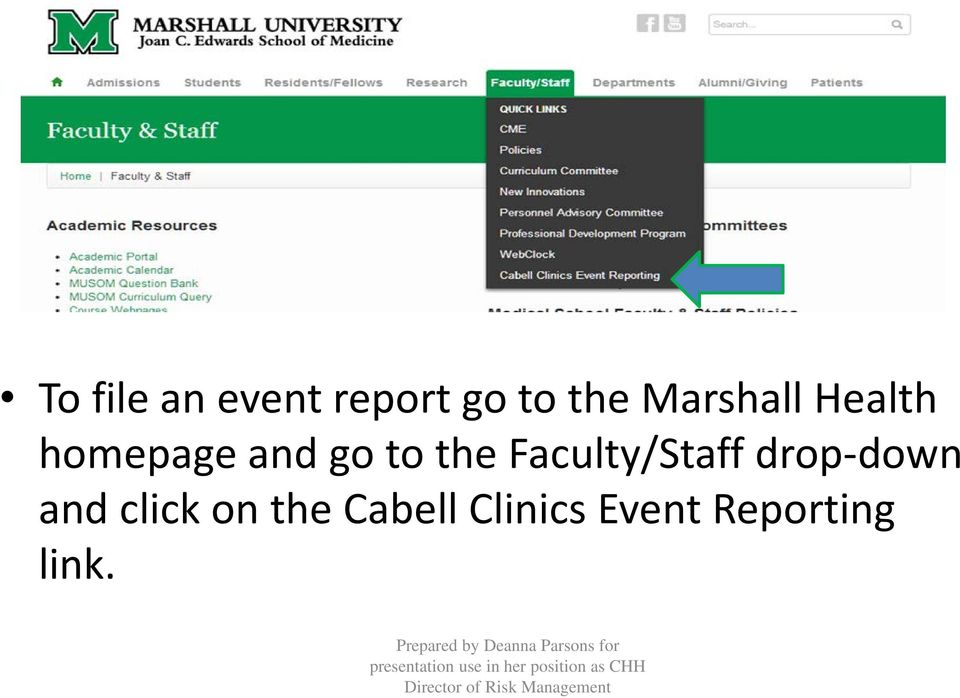 the Faculty/Staff drop-down and click