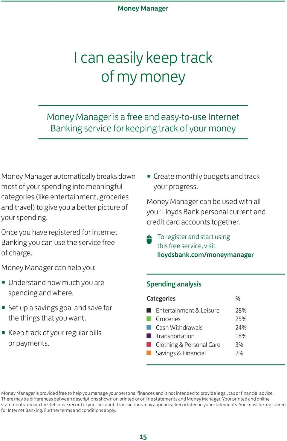 Once you have registered for Internet Banking you can use the service free of charge. Money Manager can help you: Understand how much you are spending and where.