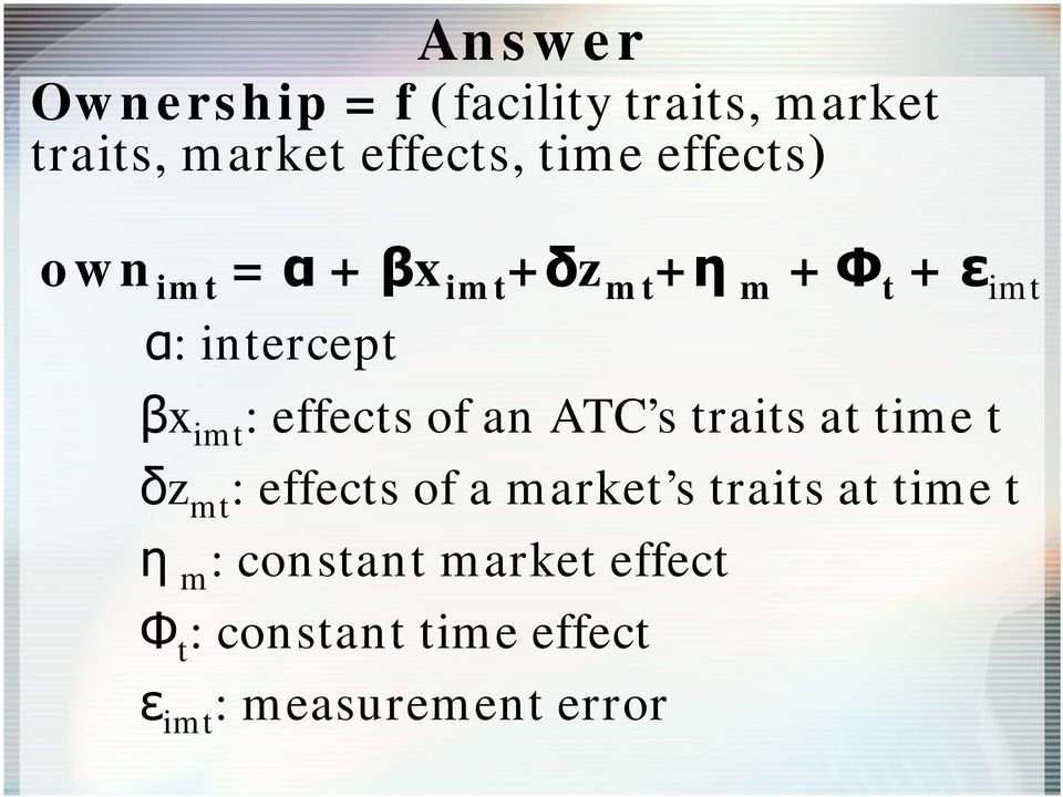 effects of an ATC s traits at time t δz mt : effects of a market s traits at