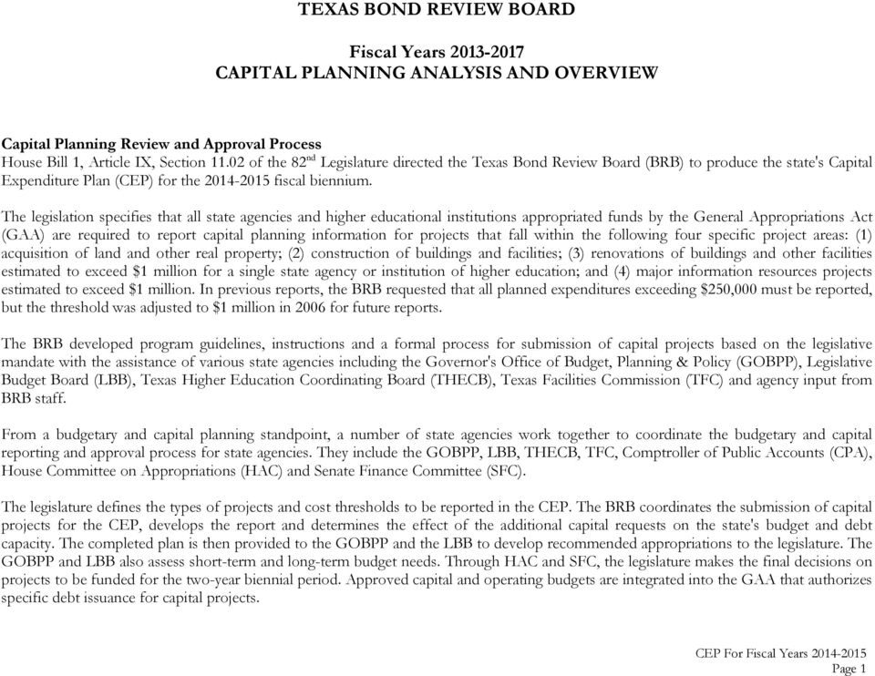 State Of Texas Capital Expenditure Plan Pdf