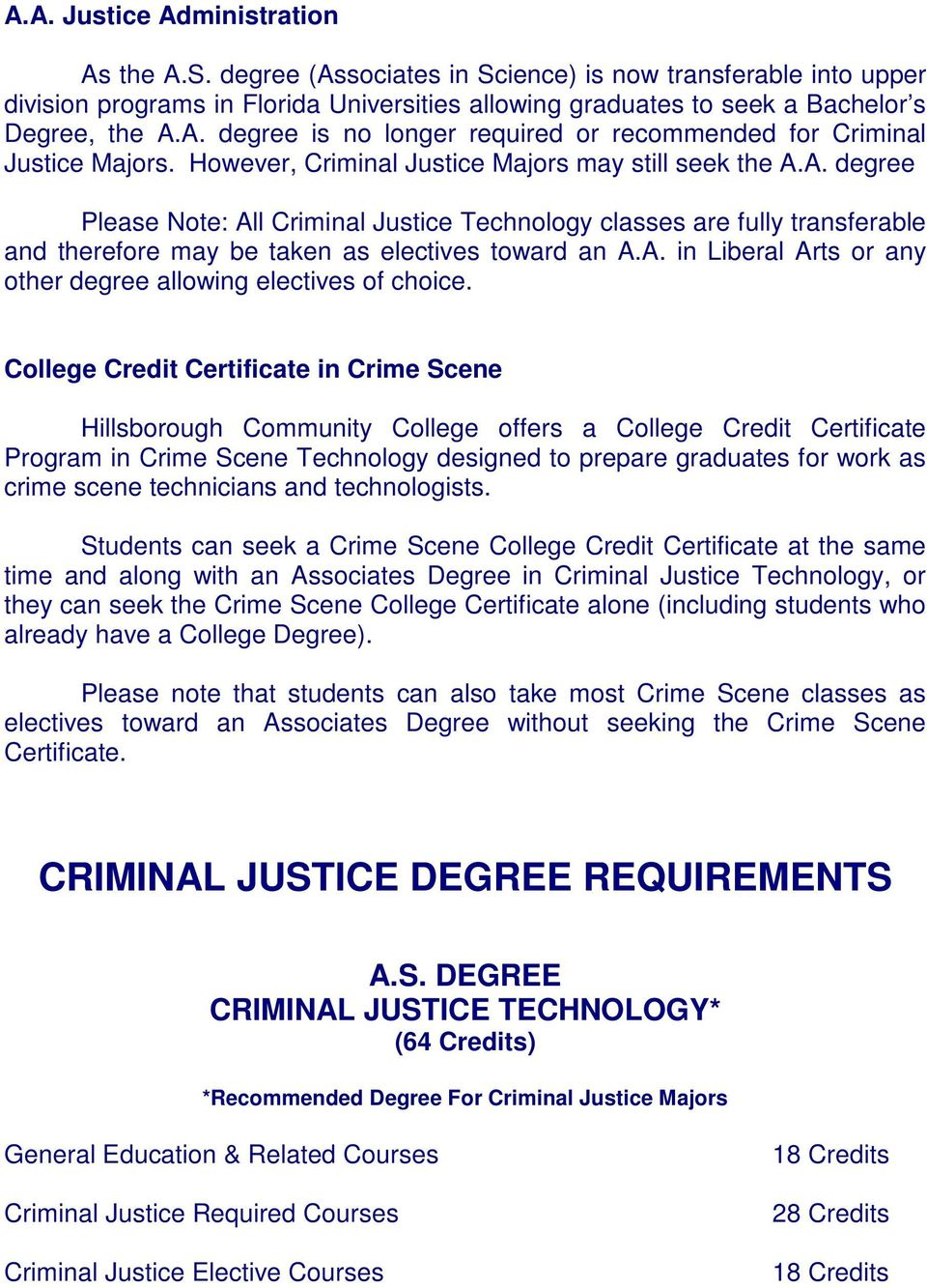 College Credit Certificate in Crime Scene Hillsborough Community College offers a College Credit Certificate Program in Crime Scene Technology designed to prepare graduates for work as crime scene