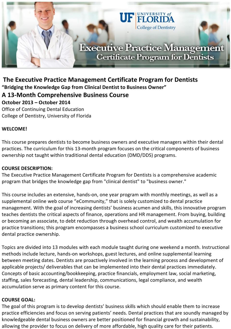 The Executive Practice Management Certificate Program For Dentists