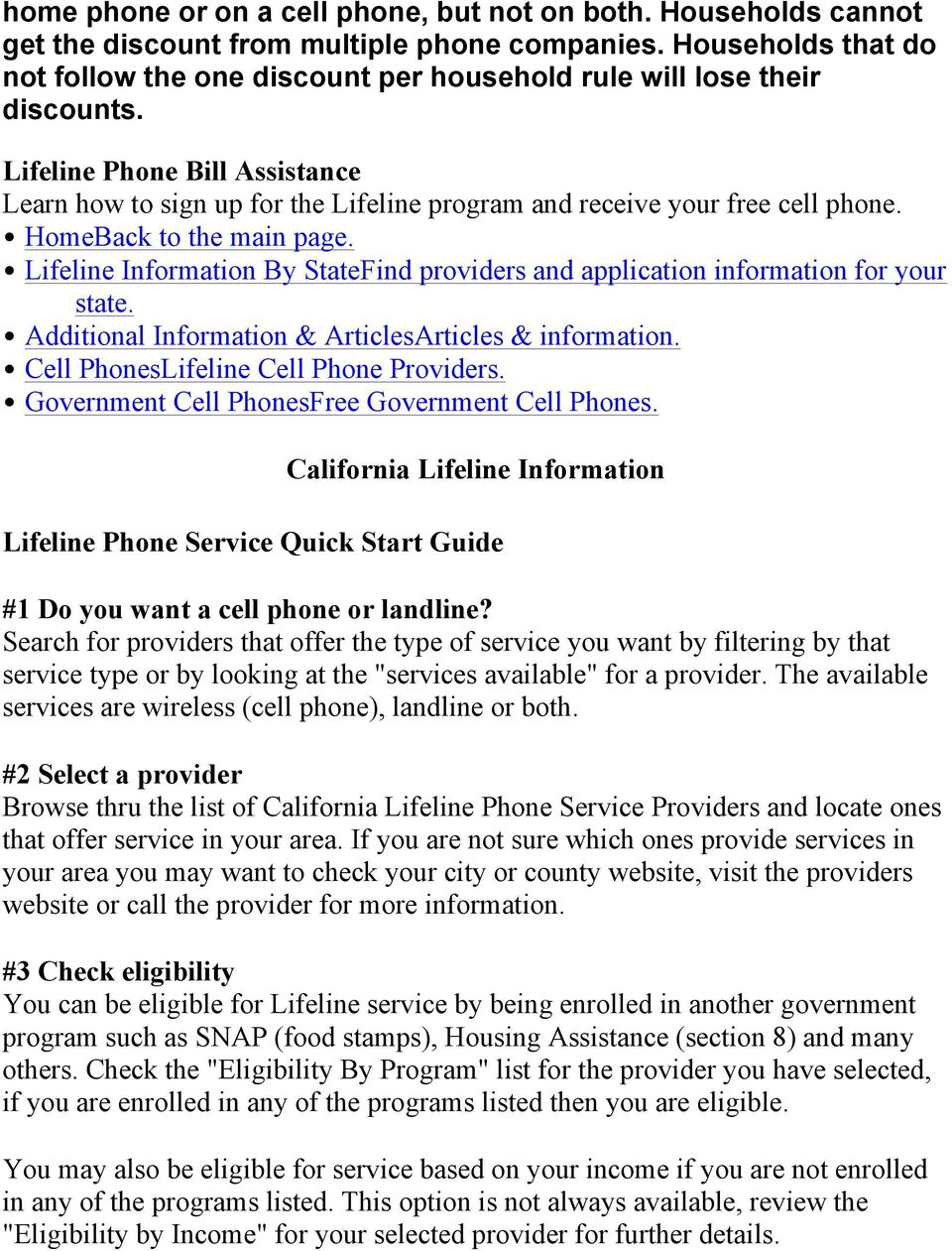 Lifeline Phone Bill Assistance Learn how to sign up for the Lifeline  program and receive your