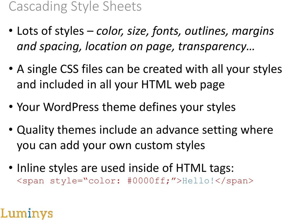 Your WordPress theme defines your styles Quality themes include an advance setting where you can add your