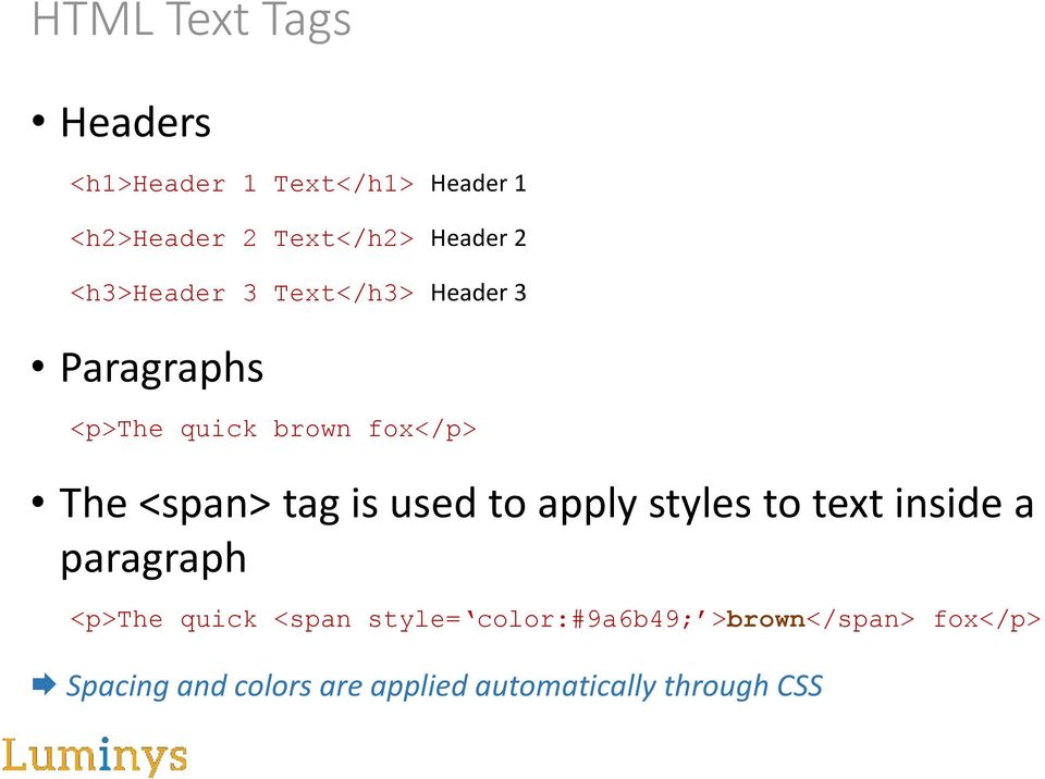 tag is used to apply styles to text inside a paragraph <p>the quick <span style=