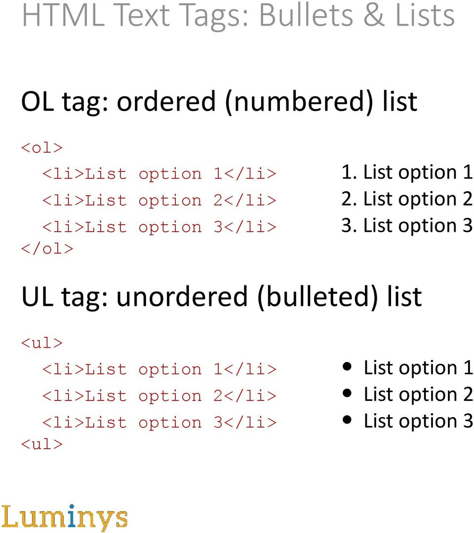 List option 2 <li>list option 3</li> 3.
