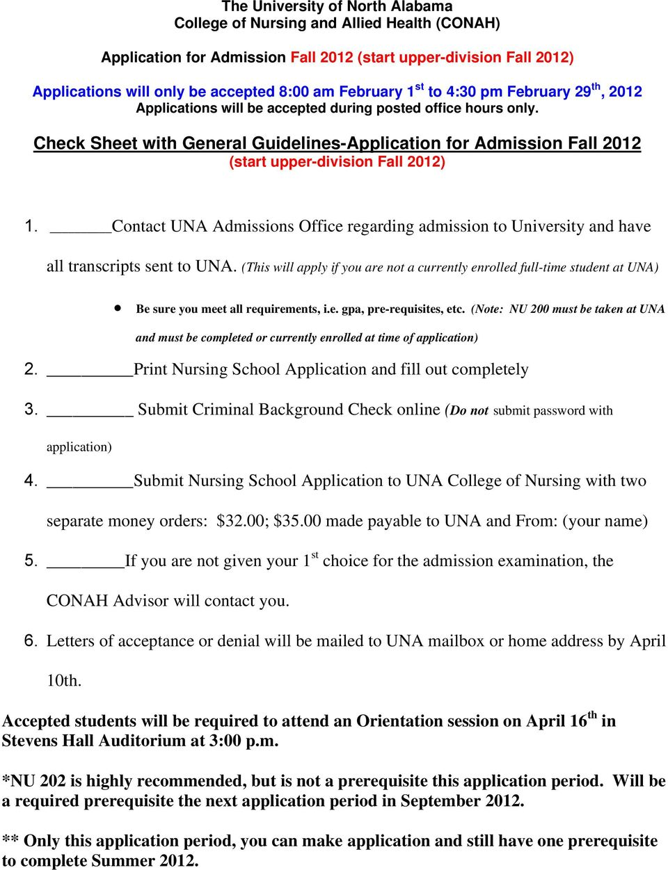 Check Sheet with General Guidelines-Application for Admission Fall 2012 (start upper-division Fall 2012) 1.