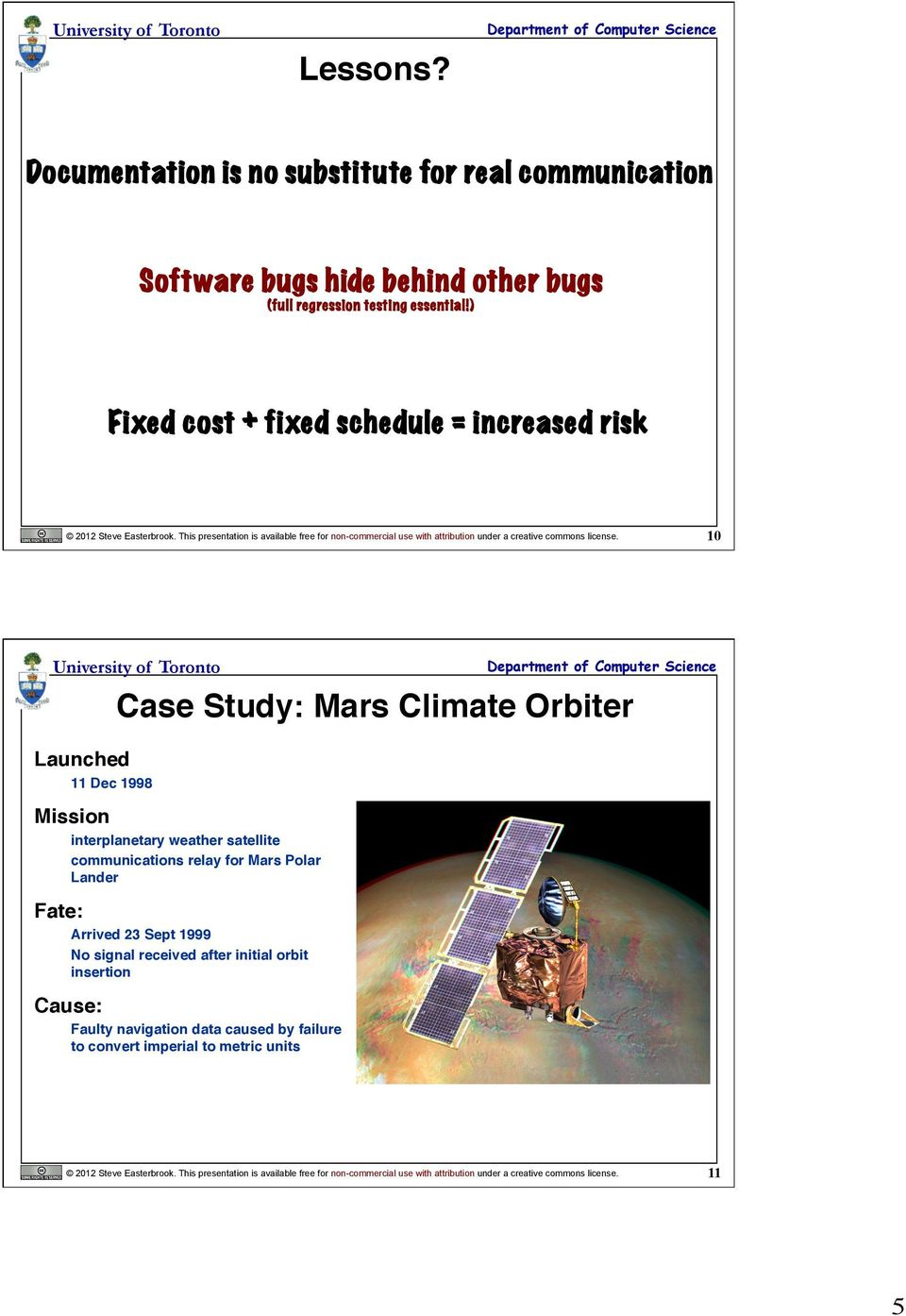 Lecture 10 Managing Risk Management Pdf Licensed For Noncommercial Use Only Circuit Opening Relay Launched 11 Dec 1998 Case Study Mars Climate Orbiter Mission