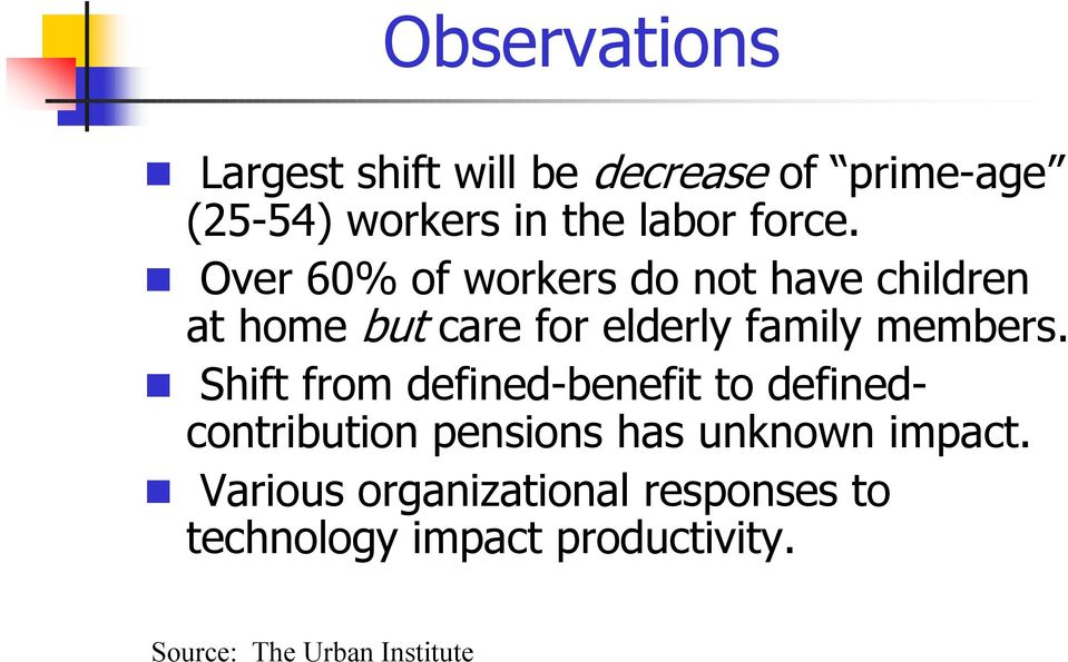 Over 60% of workers do not have children at home but care for elderly family members.