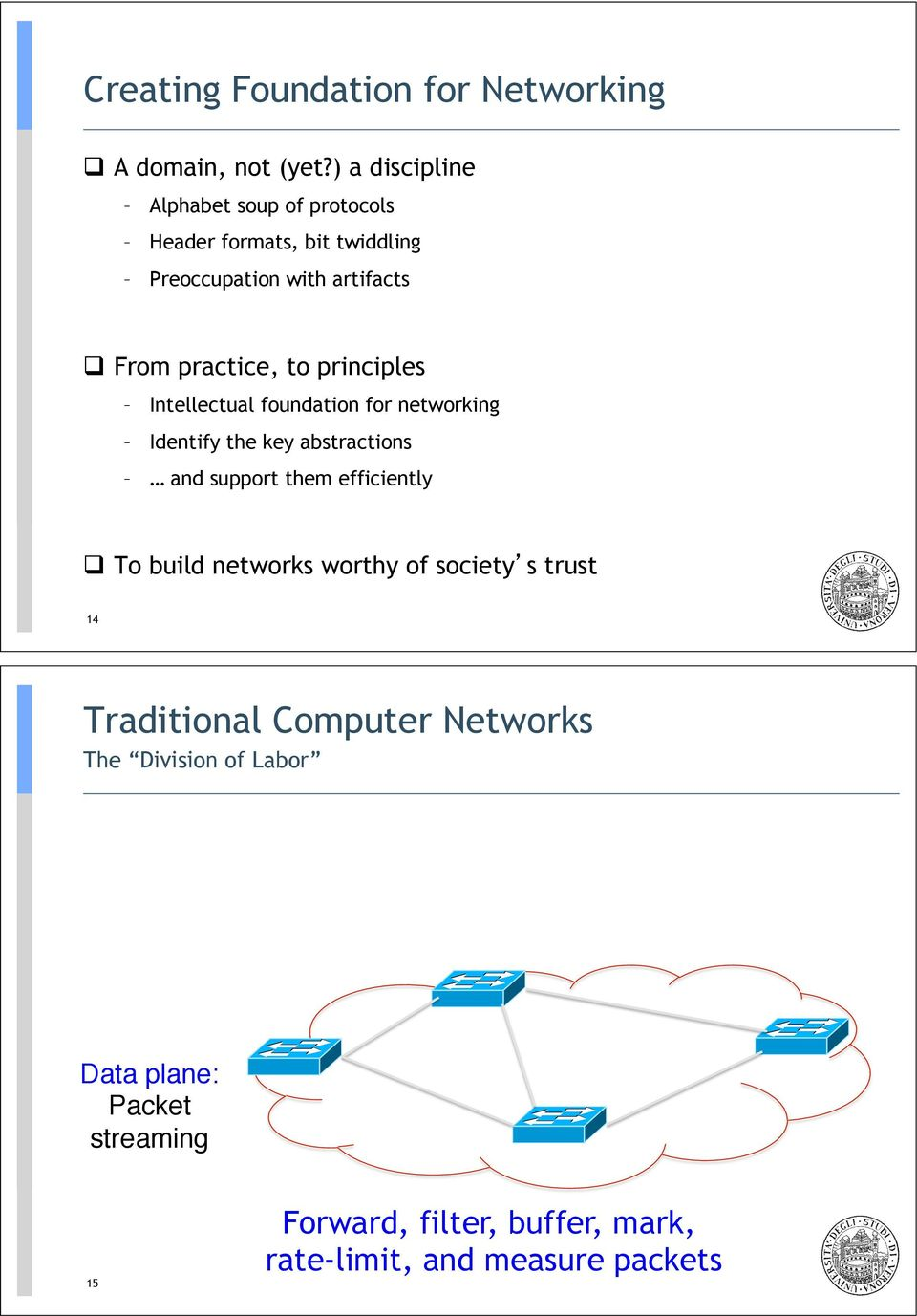 From practice, to principles Intellectual foundation for networking Identify the key abstractions and support them
