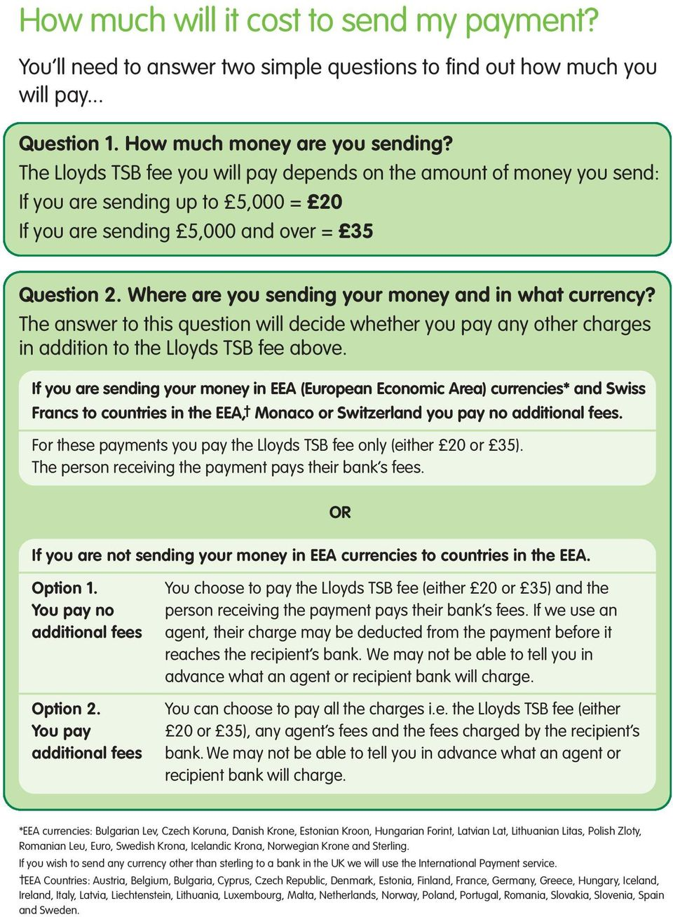Where are you sending your money and in what currency? The answer to this question will decide whether you pay any other charges in addition to the Lloyds TSB fee above.