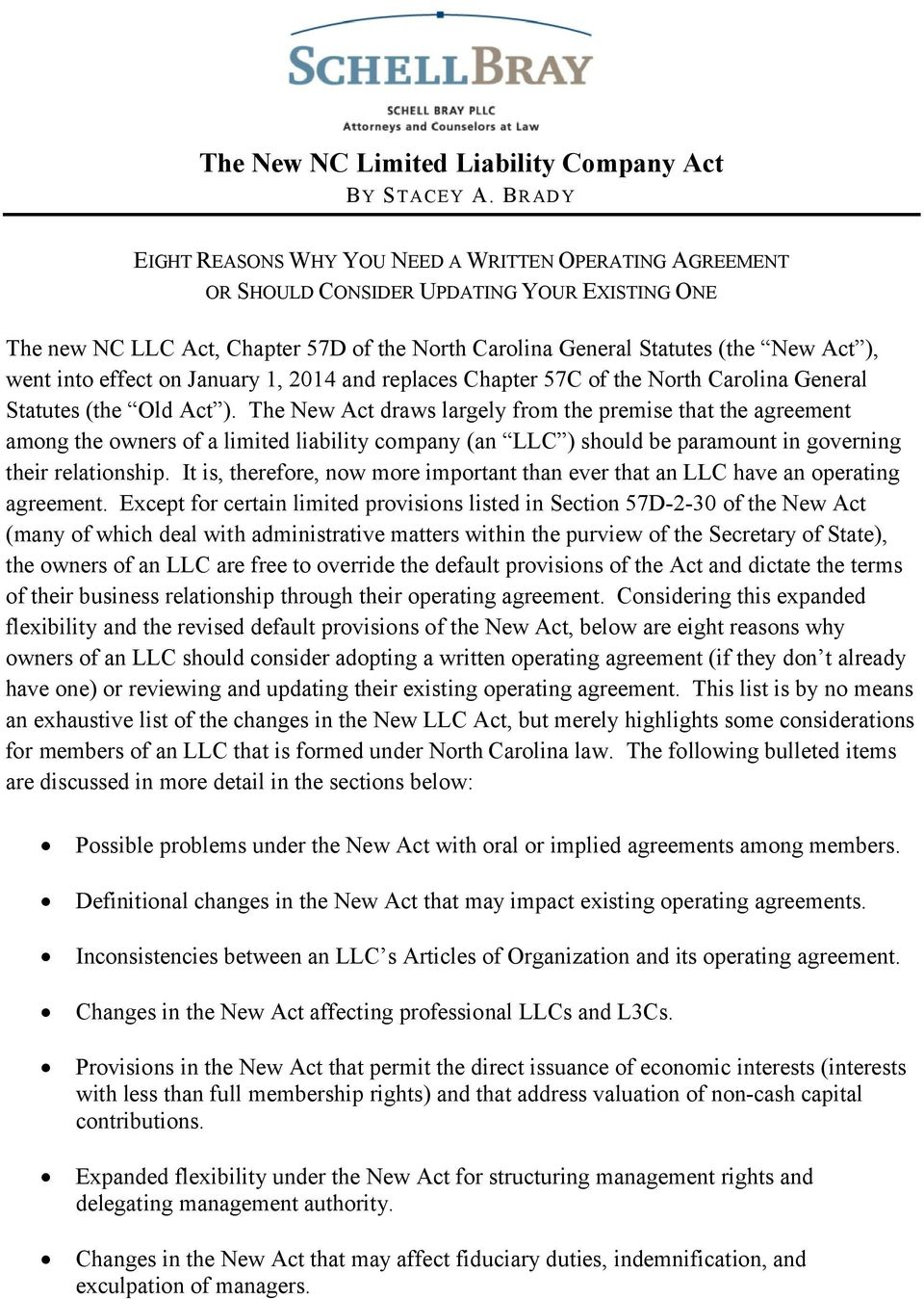The New Nc Limited Liability Company Act By Stacey A Brady Pdf