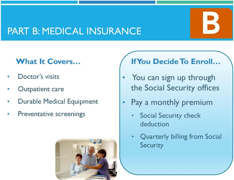Enroll You can sign up through the Social Security offices Pay a monthly