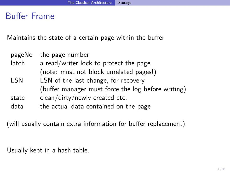 ) LSN of the last change, for recovery (buffer manager must force the log before writing) clean/dirty/newly