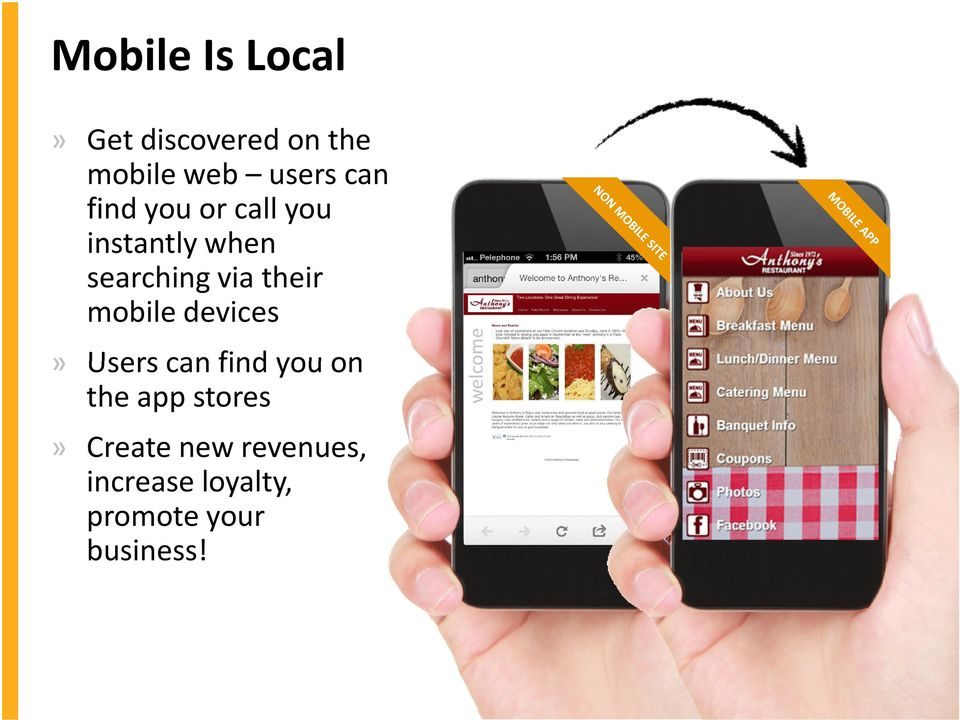 their mobile devices» Users can find you on the app