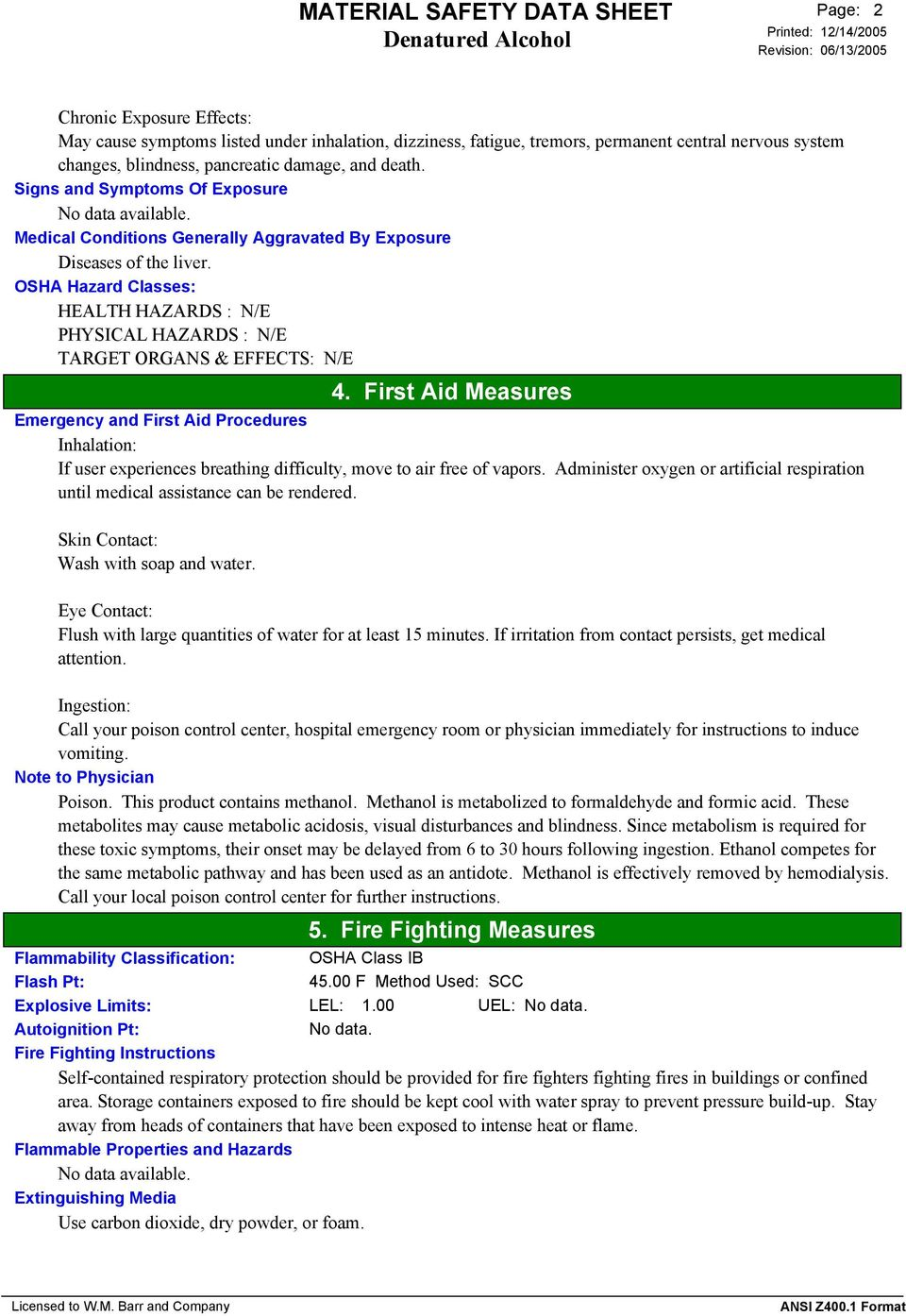 MATERIAL SAFETY DATA SHEET Denatured Alcohol  1  Product and