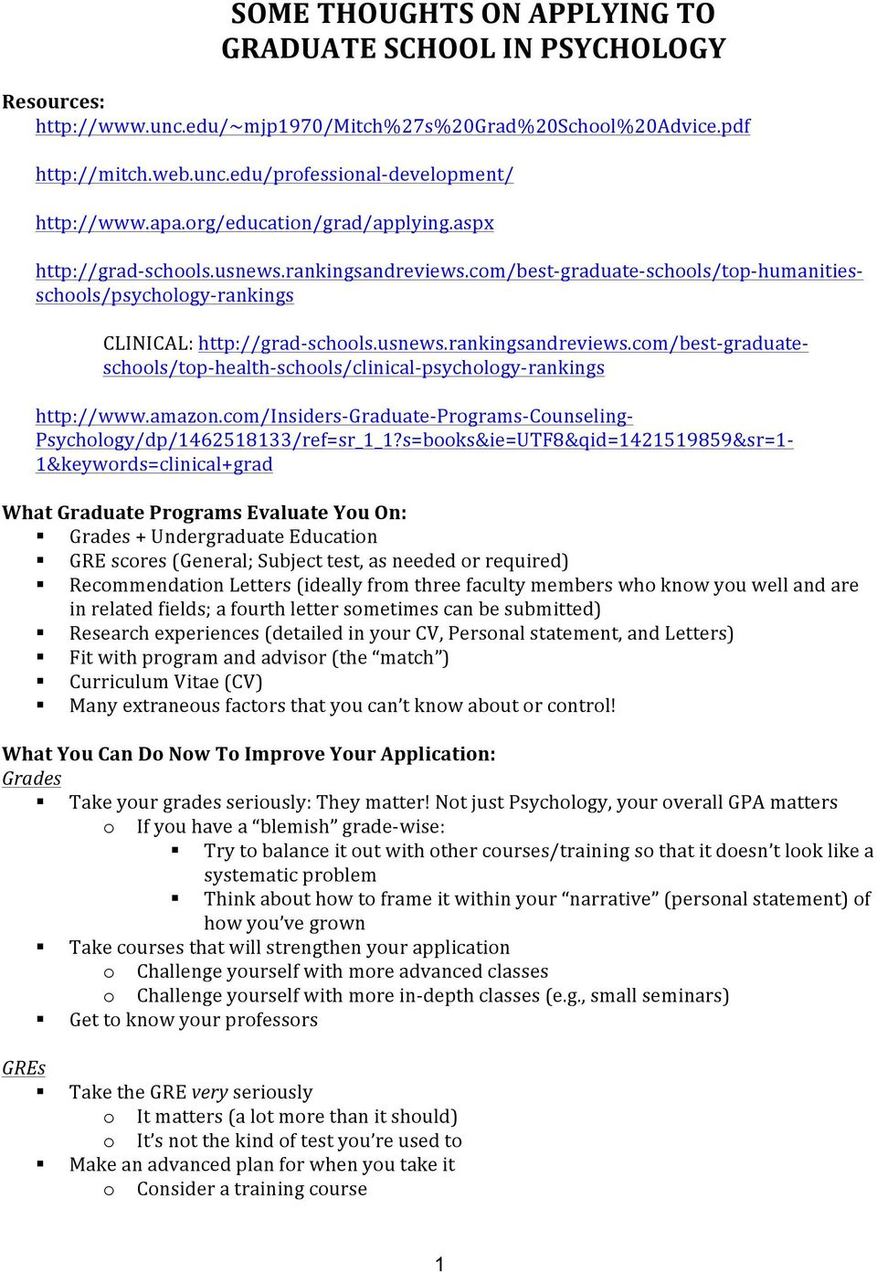 SOME THOUGHTS ON APPLYING TO GRADUATE SCHOOL IN PSYCHOLOGY - PDF