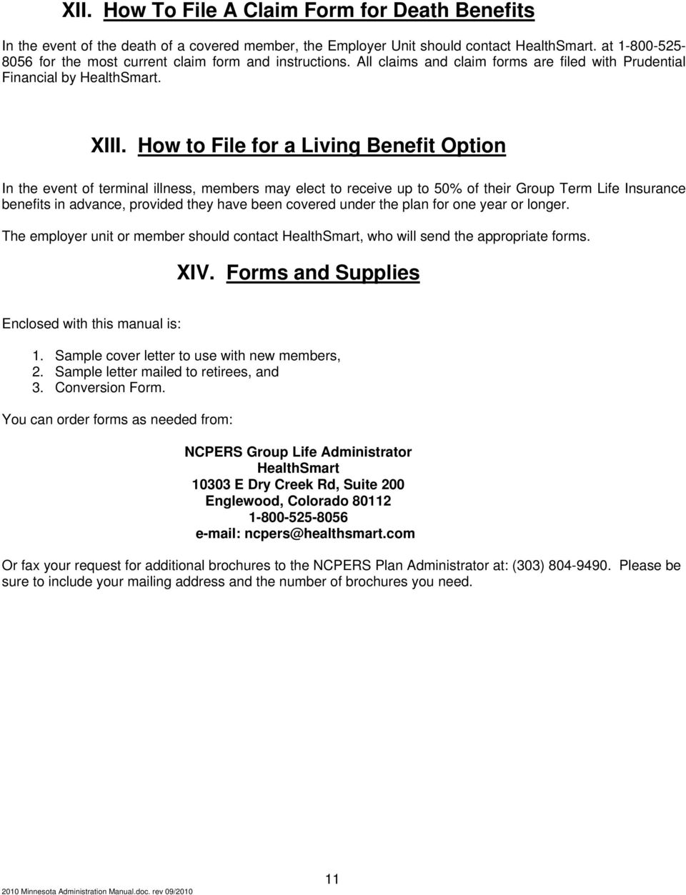 How To Administer Your Ncpers Group Life Insurance Program Pdf
