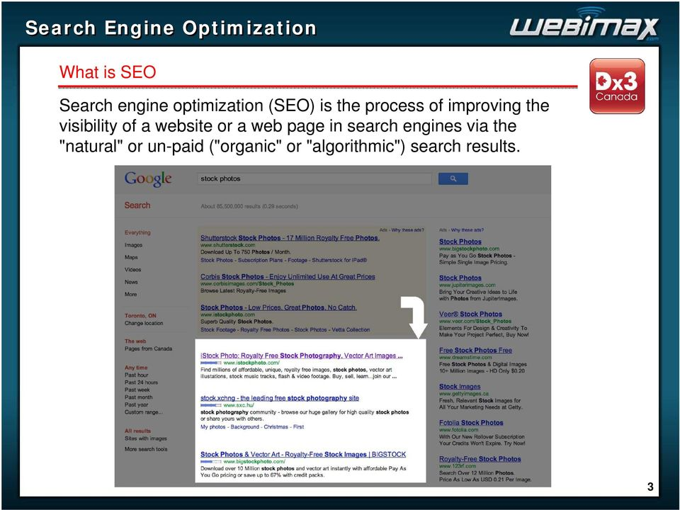 "a web page in search engines via the ""natural"" or"