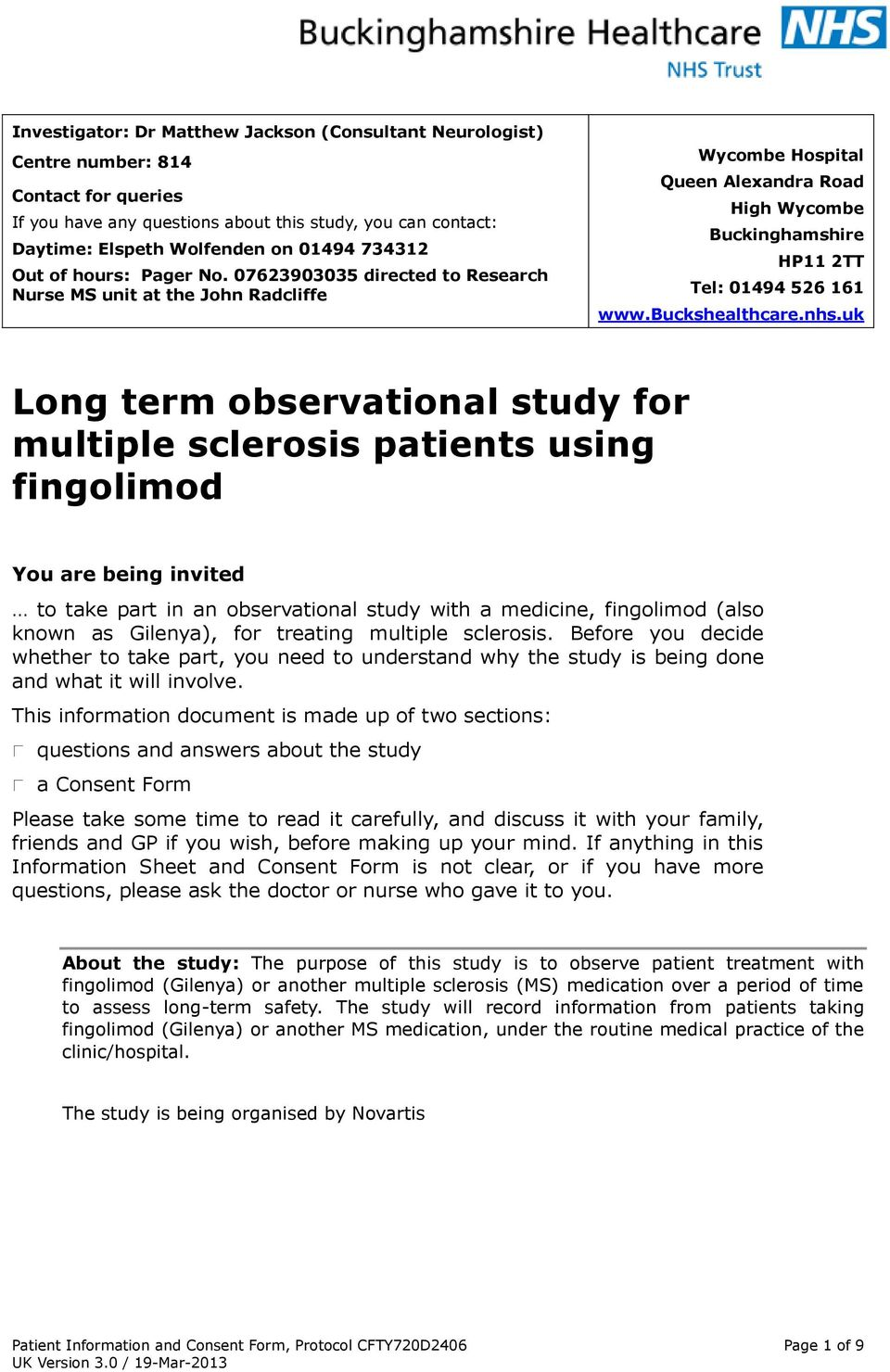 Long term observational study for multiple sclerosis