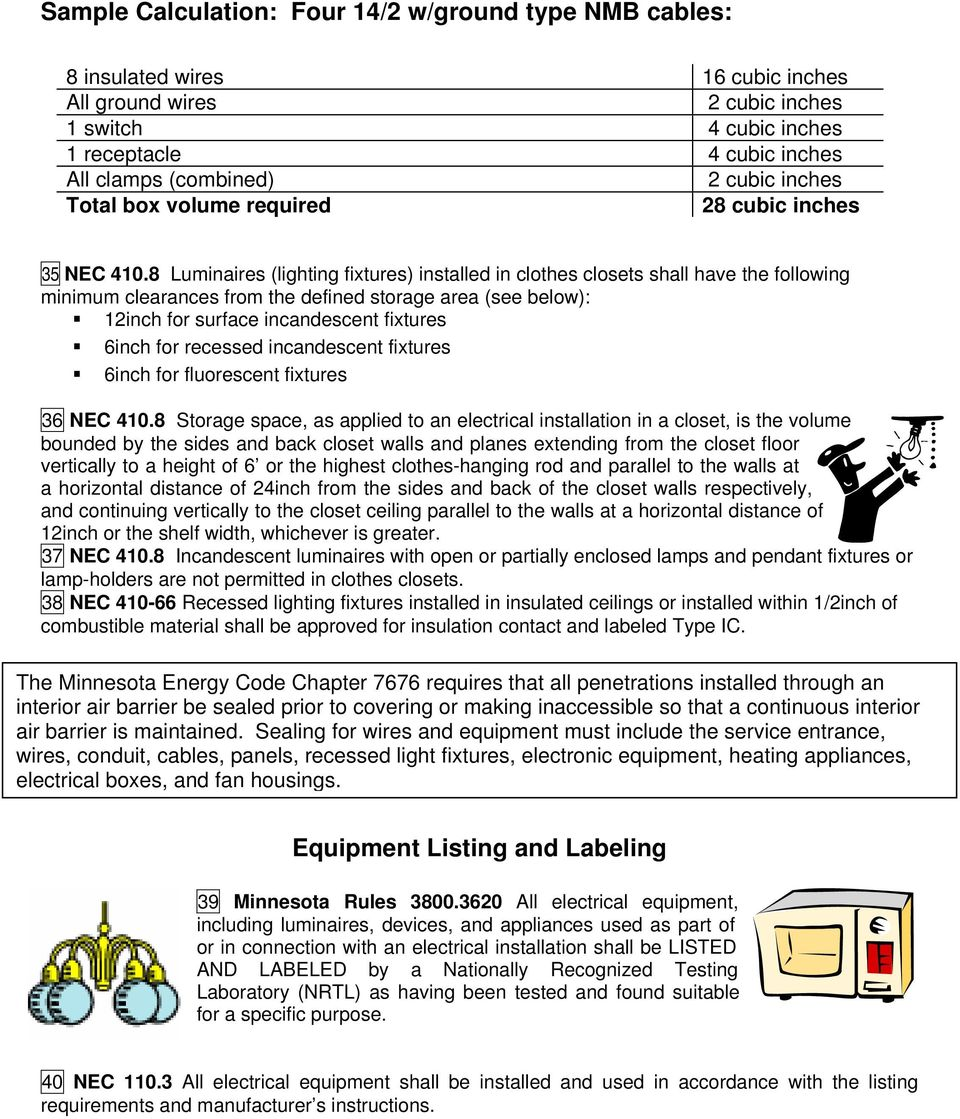 Residential Electrical Inspection Checklist Pdf Arc Fault Safety Advice For Homeowners Home Inspectors 8 Luminaires Lighting Fixtures Installed In Clothes Closets Shall Have The Following Minimum Clearances
