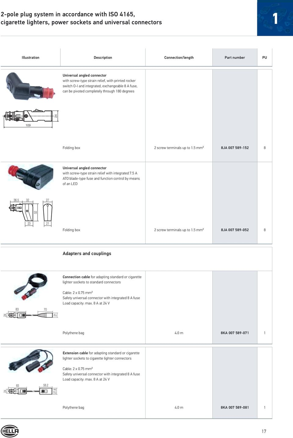 Electrical Plug Type Connections Pdf Boat Trailer Wiring Diagram On Terminal Number Function 7 Core Wire 5 Mm 8ja 007 589 152 8 Universal Angled Connector With Screw Strain
