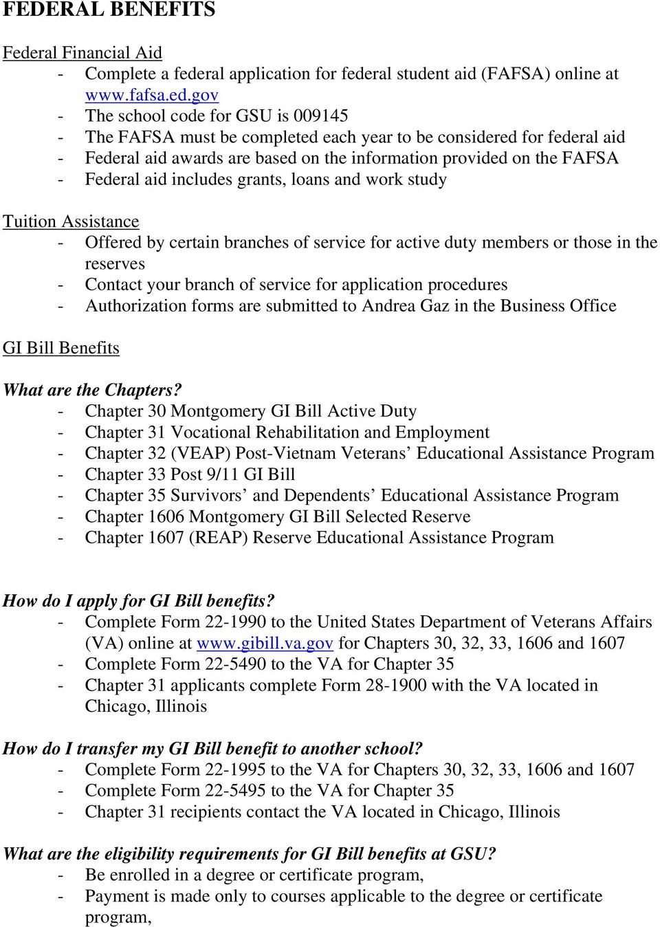 Veteran And Eligible Dependent Education Benefits Information Sheet